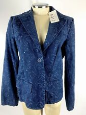 Karen Hart Shirt Blouse Size M Blue Denim Flower Diamonds NWT