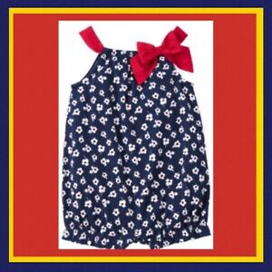 "NWT 0-3 Gymboree ""SAILOR BABY"" Cotton Knit FLORAL ROMPER 1-piece RED NAVY-BLUE"