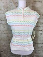 Vintage 60's 70's Marty Gutmacher white zi zag crochet knit Size 14 New Tags C1