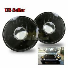 "GLASS LENS !7"" H6014 H6015 H6017 H6024 USA BLACK PROJECTOR SEALED BEAM HEADLIGHT"