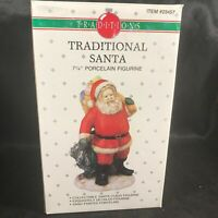 "Vintage Traditions Porcelain 7-1/4"" Traditional Santa Figurine Original Box"