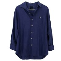 Tommy Bahama Men's Silk Cotton Shirt Small Blue Long Sleeve Button Up Textured