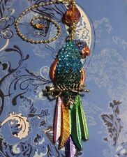 Pull~Hook on Chain/Lamp/Auto Mirror~Gold Large Rhinestone Parrot Ceiling Fan