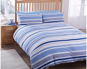 Geo Stripes Blue Duvet Cover Set With Pillowcases King