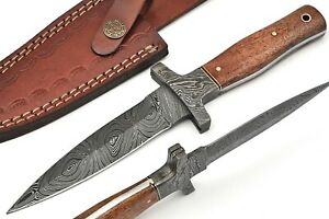 """7"""" OLIVE WOOD  HANDLE FORGED DAMASCUS STEEL Double Edge Dagger Boot KNIFE W/CASE"""