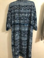 Lularoe Shirley Kimono Swimsuit Coverup Batik Boho Blue White NEW Medium