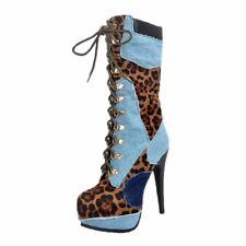 Original Intention Women Knee High Boots Leopard Sexy Heels Denim Lace Up Shoes