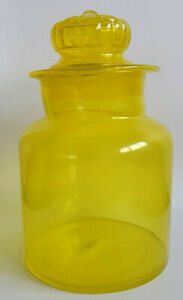 Takahashi Vintage Apothecary Yellow Glass Kitchen Jar Canister