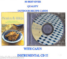 PICNICS & BBQ'S COOKING RECIPE CARDS CAJUN INSTRUMENTAL MUSIC CD BOOK BAR-B-QUE