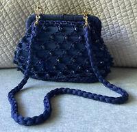 Vintage 1960s Raffia Blue Beaded Crocheted Bag Purse Handbag – Made in Italy