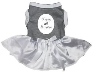 Happy Easter Bunny Grey Cotton Top White Tutu Pet Dog Dress Puppy Clothes