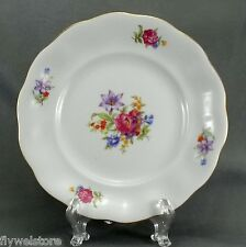"Karolina China Bread and Butter Cake Plate 6.75"" White Floral Gold Trim (FAV7)"