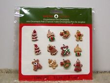 12 Assorted Gingerbread Tree Bear Etc. Mini Ornaments Christmas Home Decoration
