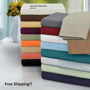 2100 ULTRA SOFT PILLOW CASE SET OF 2 STANDARD QUEEN or KING SIZE PILLOW CASES