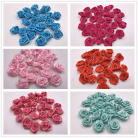 20mm Small Mini Satin Ribbon Flowers Rose Wedding Decor Sewing Appliques DIY