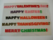 Holiday Set Window Decoration Cling Gels Happy Thanksgiving Merry Xmas Valentine