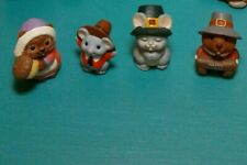 Lot Of 4 Thanksgiving Hallmark Merry Miniatures! Figurines 1990s