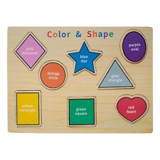 Eliiti Wooden Puzzle Shapes Colors for Toddlers 2 to 4 Years Old Boys Girls Toy