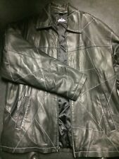 ENYCE 100% LEATHER COAT BLACK BUTTON FRONT MENS SIZE XXL MOTORCYCLE