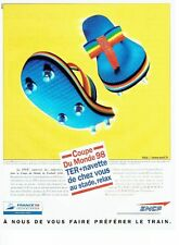 PUBLICITE ADVERTISING 126  1998    SNCF  train le TER +Navettes coupe monde foot