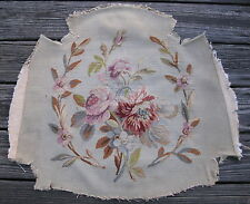 Antique French Aubusson tapestry fragment hand woven wool silk 24in x 25in