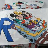 Vintage Disney Twin Sheet Pacific Mickey Alphabet Flat Fitted Pillowcase USA
