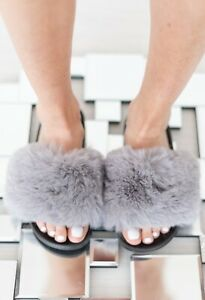 LADIES WOMENS FAUX FLUFFY FUR SLIDERS WARM FASHION SUMMER SANDALS SLIPPERS SHOES