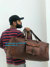 Vintage Weekend Luggage Overnight Holdall Natural Leather Bag Travel Men Duffel