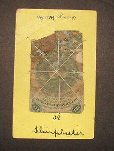 US FRACTIONAL 3 CENT NOTE UNIQUELY TIED TO A 1898 WOMENS ORCHESTRA BENEFIT CARD