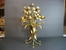 "Hollywood Regency Gold Gilt Tole Floral Italian 5 Arm Candelabra 15"" French Chic"