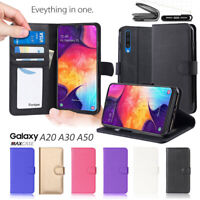 For Samsung Galaxy A20 A30 A50 Premium TPU Leather Phone Wallet Flip Case Cover
