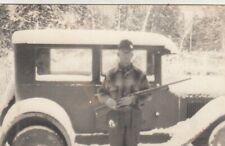 Vintage RPPC Real Photo Man Hunter - Rifle Snow Hunting - Antique Car