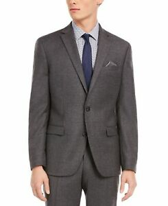 Bar III Mens Suit Jacket Gray Size 36 S Slim Fit Notch Collar Wool $425 #368