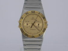 Swiss Omega Constellation gold dial quartz date day G/SS bracelet dressing watch