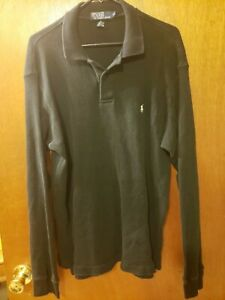 Polo Ralph Lauren Long Sleeve Soft Casual Waffle Knit Collared Polo XL Black