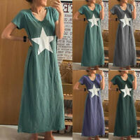 Trendy Women V-Neck Short Sleeve Five-pointed Star Print Casual Loose Midi Dress