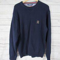 Tommy Hilfiger Sweater Mens Large L Navy Big Lion Crest Heavy Knit Crew Neck