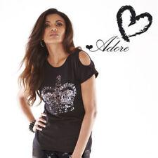 Adore Noir Taille 10 Femme Split T-shirt manches Chemisier Haut RRP £ 29.99