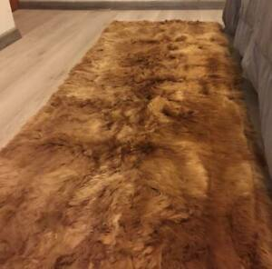 65 X 40 IN BROWN Alpaca Suri Fur Rug Plane Design Decor Genuine solid Alpaca Fur