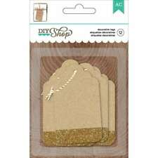 American Crafts Diy2 Glitter Kraft Tags, Gold for Arts and Crafts - 4-Pack