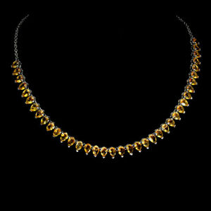 Pear Citrine 7x5mm 14K White Gold Plate 925 Sterling Silver Necklace 20.5 Inches
