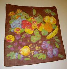 "Vintage Colorful Fruit Print Handkerchief Hankie Hand Rolled Edge 12x13"""