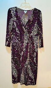 Maternity Dress Purple Black Dots Empire Waist - Knit by Motherhood Medium