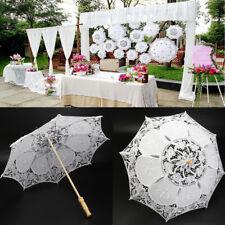 52cm Éventail Parasol Ombrelle Dentelle Mariée Mariage Parapluie Coton Broderie