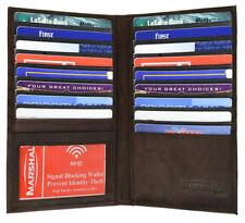 Brown RFID Signal Block Leather 19 Credit Card Checkbook Organizer Holder Wallet