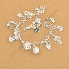 925 Sterling Silver with Cross Moon Heart Clock Pendants Perfect Woman Bracelet