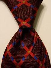 MC & CO. Men's 100% Silk XL Necktie ITALY Designer Geometric Red/Black/Blue RARE