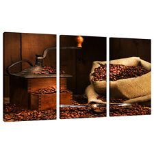 Three Canvas Pictures Kitchen Dining Room Brown Wall Art Prints 3062