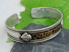 Large Tibetan Copper Carved Brass OM Mani Padme Hum Dorje Amulet Cuff Bracelet