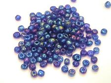 30g x Blue Ab Glass Seed Beads 4mm 6/0 Craft Beading Jewellery Sewing H70